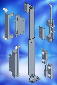 EMKA hinges with retained pins and matching door stay