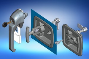 recessed T handle and heavy duty stainless steel latch from EMKA