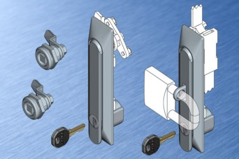 Stainless steel locks and swinghandles from EMKA for enclosures and cabinets