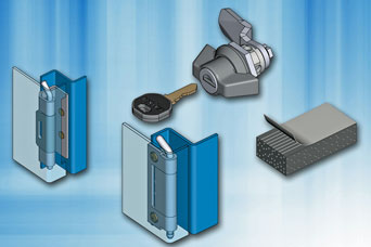 Wall mounted enclosure hardware from EMKA includes quarter-turn locks, wing knobs, hinges and rubber gasket strip