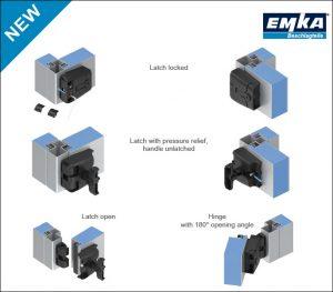 EMKA HVAC compression latch hinge product sheet