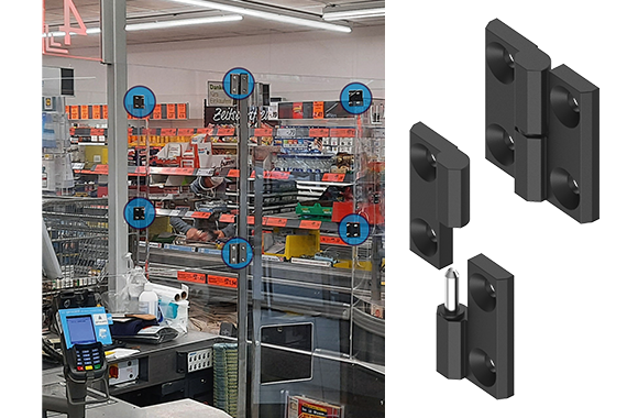 Supermarket screens with EMKA hinges